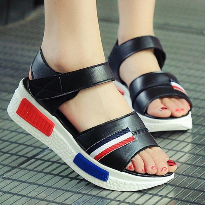 Sandales Velcro Femmes d'été Mode Plate-forme 4YNez
