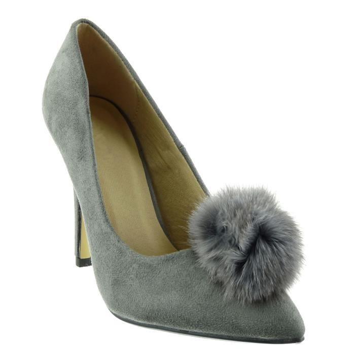 c7c9de210 Cm Gris 91 40 Femme Chaussure Jm Mode Aiguille noir pom Escarpin ...