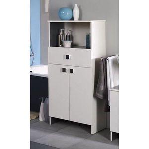 MEUBLE BAS COMMODE SDB HORIZON Meuble de salle de bain L 59 cm - Blanc