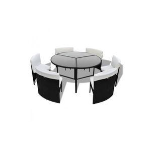 Salon de jardin rond 6 fauteuils en poly rotin Noir - Achat / Vente ...
