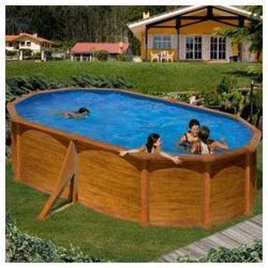 PISCINE Kit piscine hors-sol maldivas acier aspect bois ov