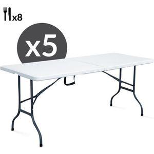 TABLE DE JARDIN  Lot de 5 tables pliantes portables 8 places 180 cm