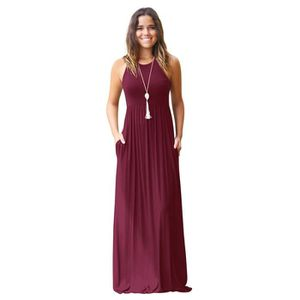 ROBE Robe Femme Col Rond Sans Manche Taille Elastiquee