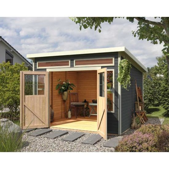Abri de jardin à toit plat 6.15m² en bois massi… - Achat / Vente ...