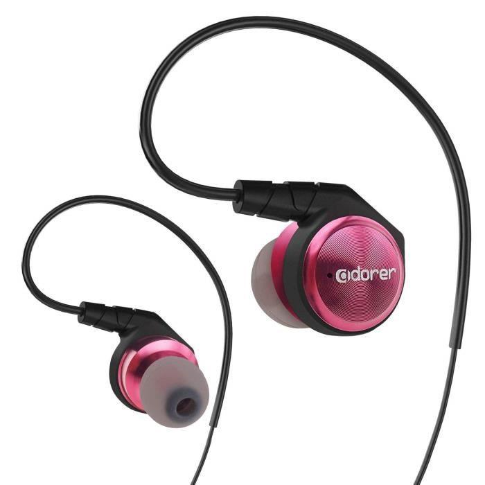 Adorer M9 Écouteurs Intra-auriculaires - Premium D'isolation Phonique Écouteur Avec Crochets Auriculaires Rose