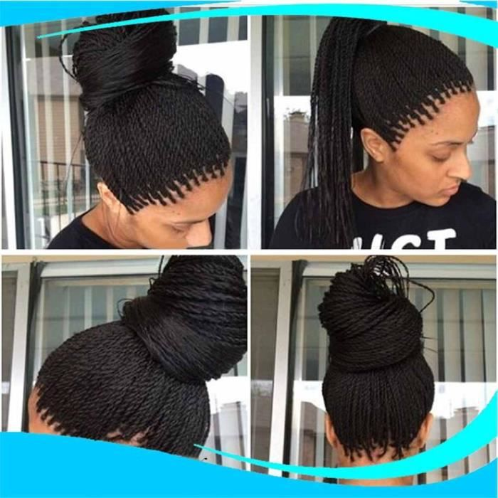 perruque tresse africaine 14 pouces faux cheveux noir femme longue bouclé  et frisé Extension de Cheveux Noires Humains Naturelle