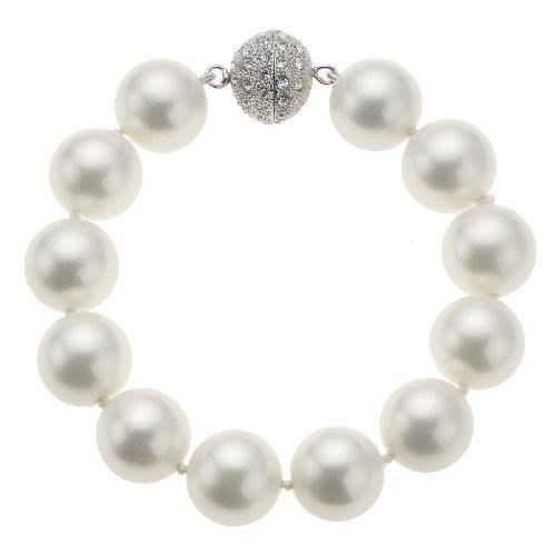 Fashion - 380060007 - Bracelet Femme - Perles Blanches Et Fermoir Boule Strass - 20 Cm NLBJC