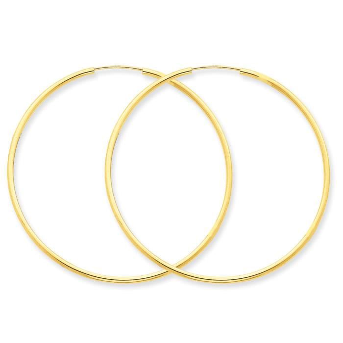 14 carats 1,5 mm-Polie-Ronde-Boucles doreilles anneaux