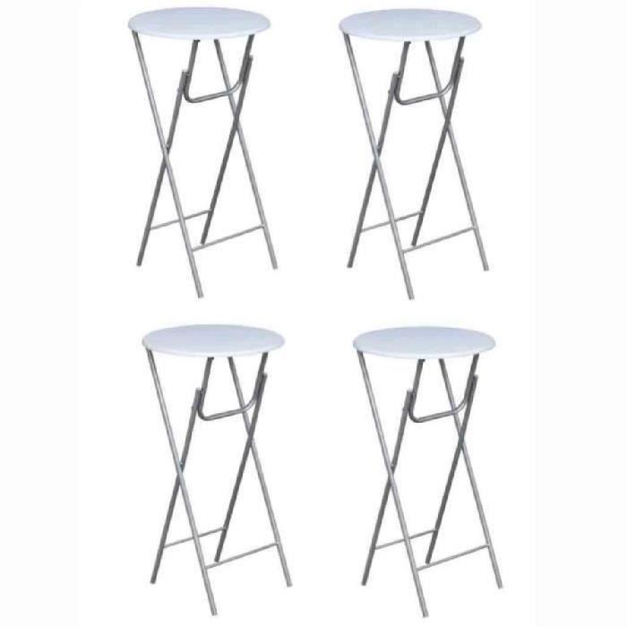 TABLE À MANGER SEULE 4 tables de bar pliantes rondes 60 cm - Blanc  -