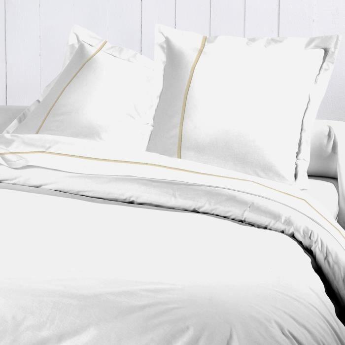a08341d72c29a DAVID OLIVIER Parure de couette 100% coton - 1 Housse de couette Percale  BLANC 220x240cm - Blanc