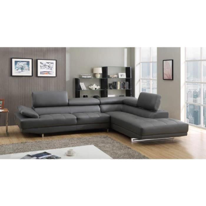 Canapé grand angle en cuir avec tªti¨res réglables VITTORIA Gris