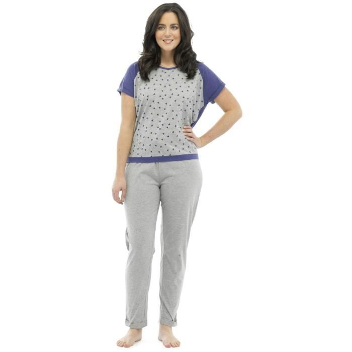 De Pantalon Et Rose gris Pyjama Fuselé violet M shirt Ensemble T XAfHHpq