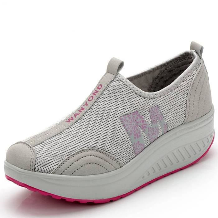 aux femmes Mesh Plate-forme Slip-On Chaussures ...