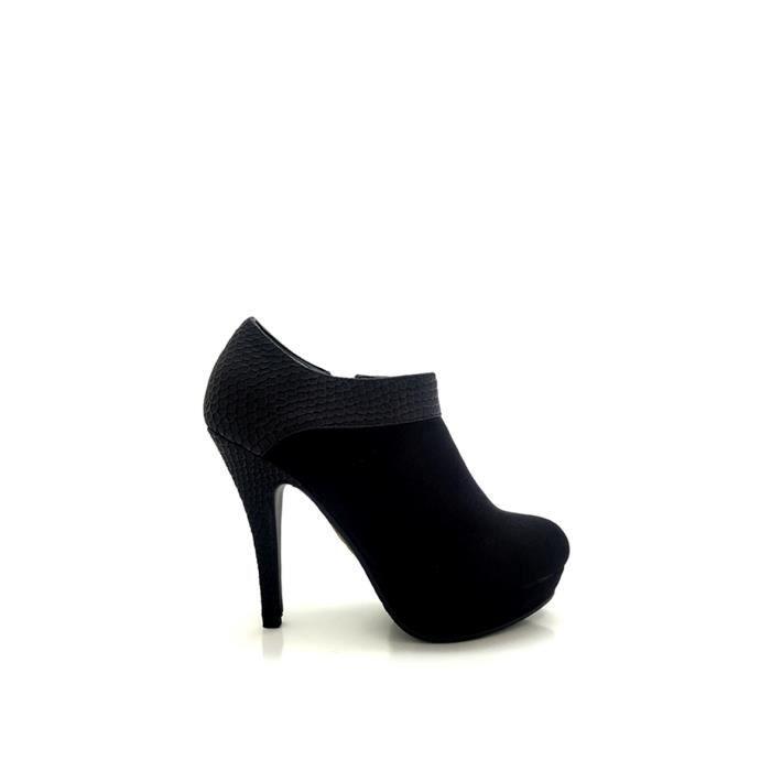 Bottines Femmes Automne Hiver talon épais en cuir bottes BBDG-XZ019Noir38 jR3hOJ