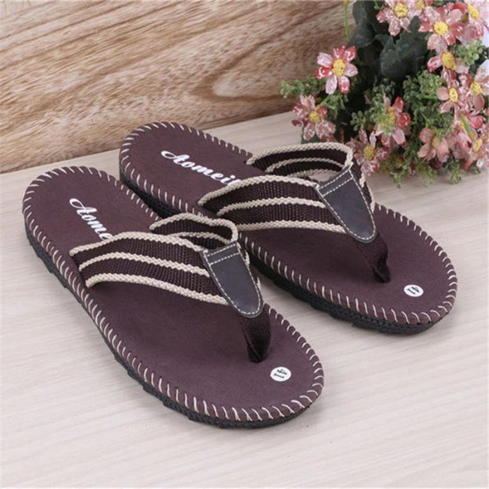 Homme tongs d'été nouvelle arrivee marque de luxe chaussure branché plein air Plus de couleur marron noir Haut qualité tong DQVemJ