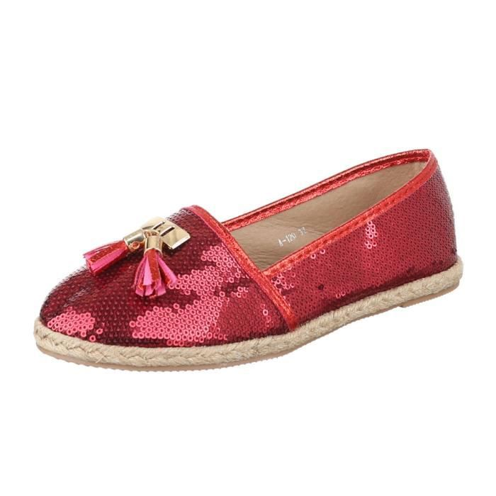 femme chaussure basse chaussure mocassin rouge