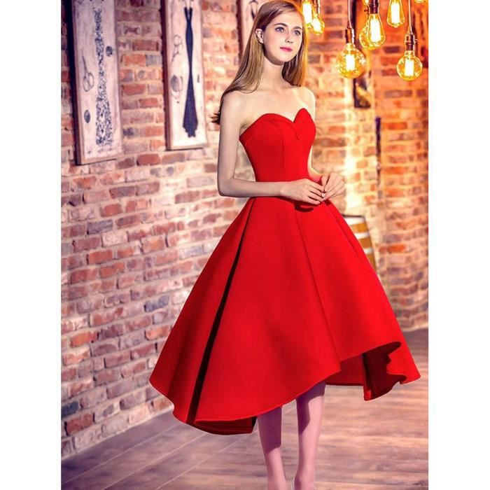 Robe soiree courte bustier rouge