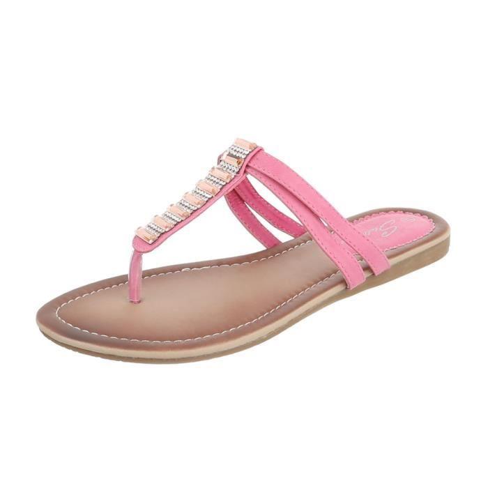 Chaussures femme sandales parsemée de strass des tongs argent 41