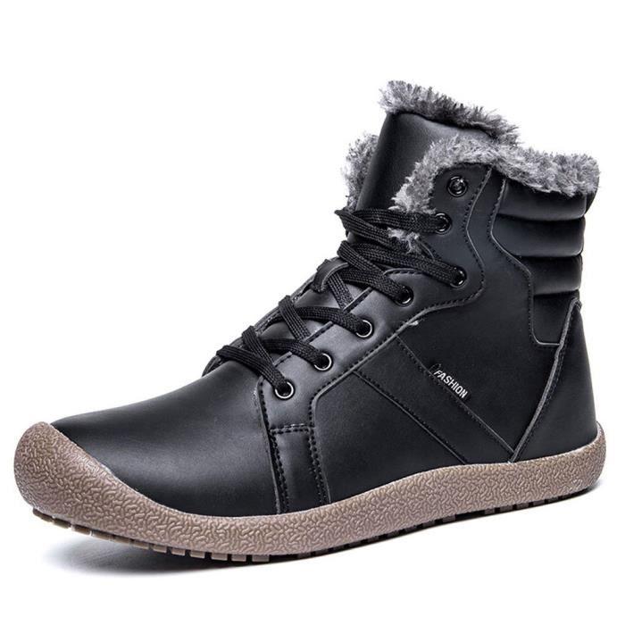 en d'hiver sport Mens Chaussures doublure XYMSV Chaussures cheville fourrure lacées de montantes de avec Taille neige Bottes 44 q01wqOrvf