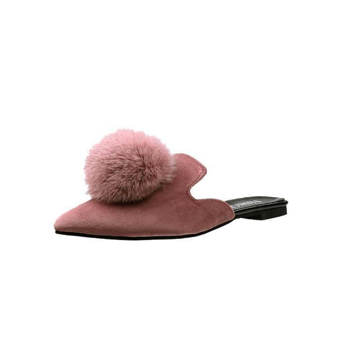 Boule Sandales Pointu Femmes Pantoufle rose Orteil Plat Cheveux Talon Couleur Mode Solide TFFAqI