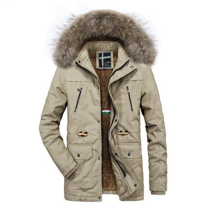 Coton Col longue mi Chaud Fausse Fourrure De En Hugo Vêtements Homme Hiver Serrage Cordon Manteau Boutique xHvXUW