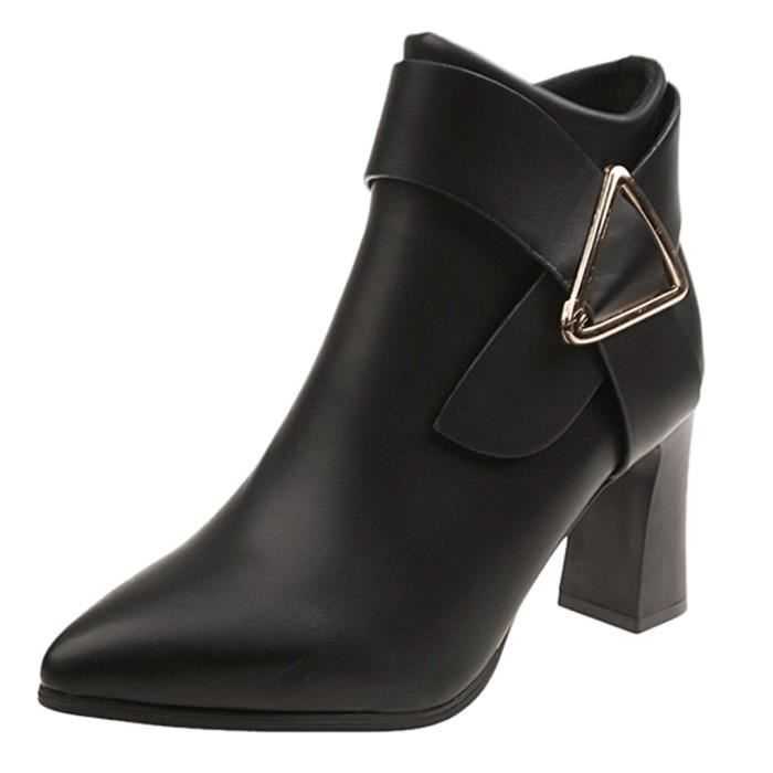 Femmes yini695 Chaussures Talon Hiver Couleur Solide Zipper En Bout Cuir Haut Rond À Bottes fdUxqTxwn