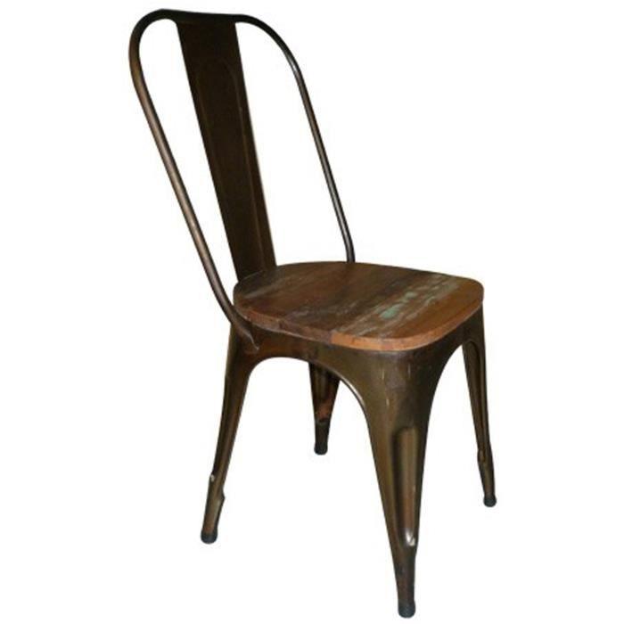 CHAISE Chaise En Acier Avec Assise Bois