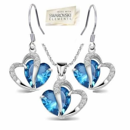 CO Parure Bijoux 4 pièces Coeur Cristal Swarovski Elements Turquoise Plaqué or
