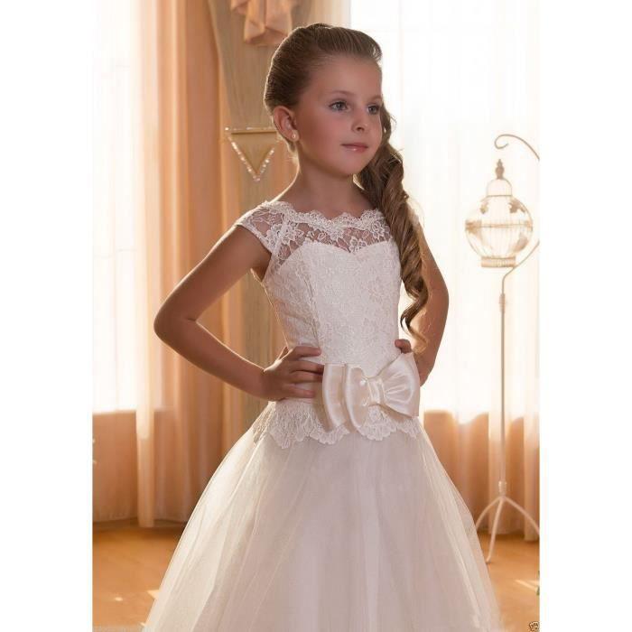 Robe de princessecérémonie mariage anniversaire fille de fleur longue blanc pour6-13ans