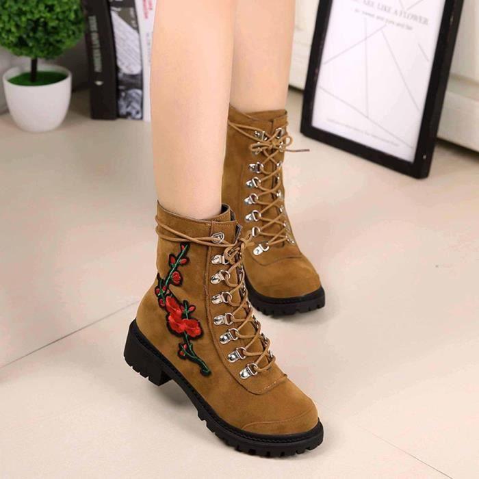 forme Lacets Épais Plat Bottes À Hiver Dames Automne Chaussures Talons marron Femmes Plate 0zFxZw
