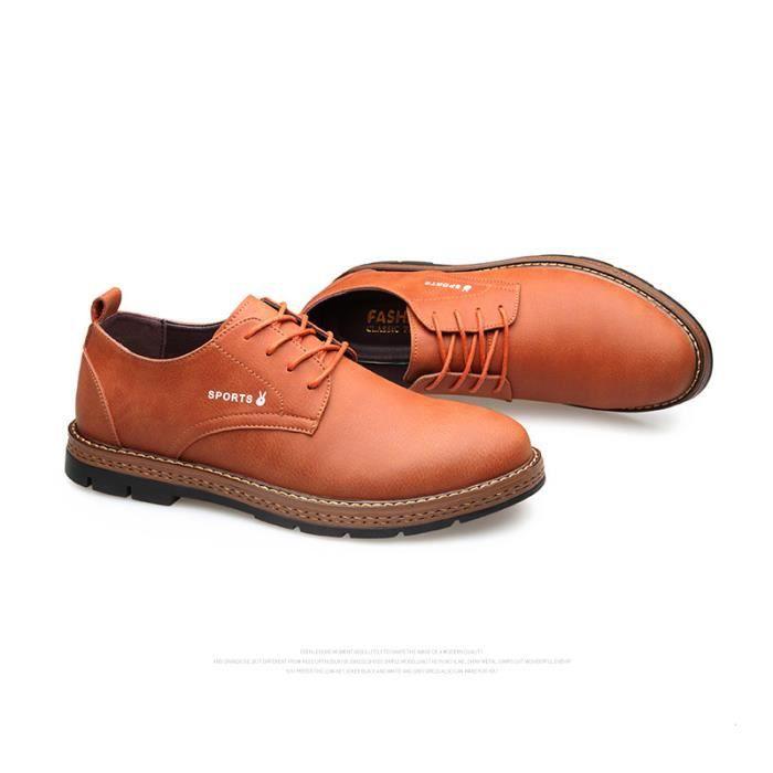 JOZSI Chaussures Hommes Cuir Confortable mode Homme chaussure de ville ZX-XZ194Rouge39