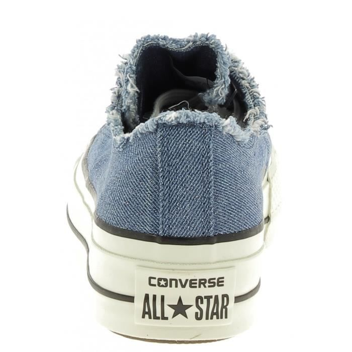 Converse - Converse Ctas Clean Lift Ox Platform Chaussures de Sport Femme Glitter Bleu