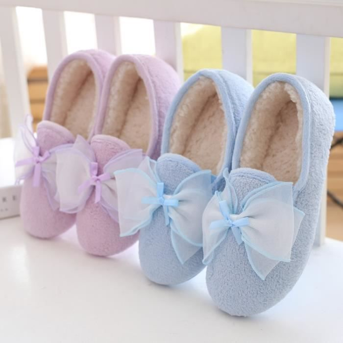 Automne et la couleur des bonbons hiver produits ménagers mignon et chaussures en coton dames chaussures d'intérieur,bleu,39