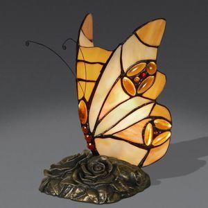 LAMPE A POSER Papillon Lampe de chevet avec abat-jour de verre s