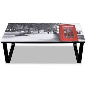 TABLE BASSE Table basse en verre Design cabine téléphonique