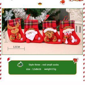 Calendrier de l'avent 4pcs Bas de Noël Chaussette Père Noël Bonbons Sac