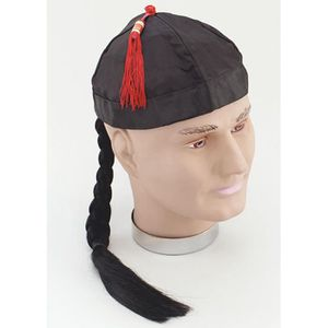 ACCESSOIRE DÉGUISEMENT Chapeau chinois Oriental noir avec tresse