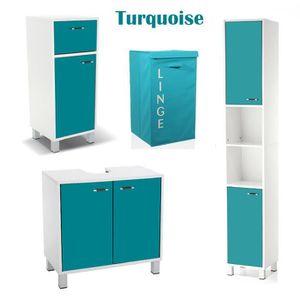 Meuble salle de bain couleur turquoise - Achat / Vente Meuble ...
