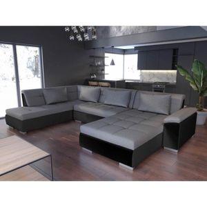 CANAPÉ - SOFA - DIVAN Canapé panoramique LEMON gris et noir design