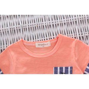 9f48489e847c4 Ensemble de vêtements Enfant nouveau-né bébé rayé crayon T-shirt Hauts ...