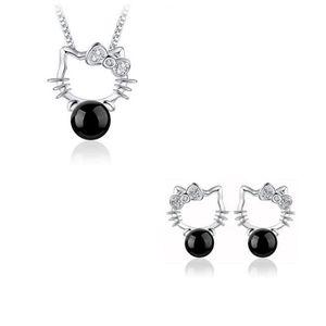 PARURE Parure Bijoux 4 pièces Hello Kitty Perle Noir Arge