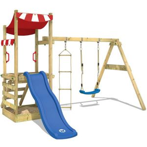 aire de jeux en bois pour particulier vidaxl aire de jeux avec chelle toboggan et balanoires en. Black Bedroom Furniture Sets. Home Design Ideas