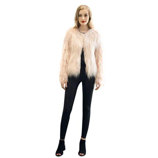Updrr71115004pkm Fourrure Pardessus De Cheveux Femmes Manteau Flottante Imitation Rose Fox Lady Jac Fausse Veste TpwB4qgnx7