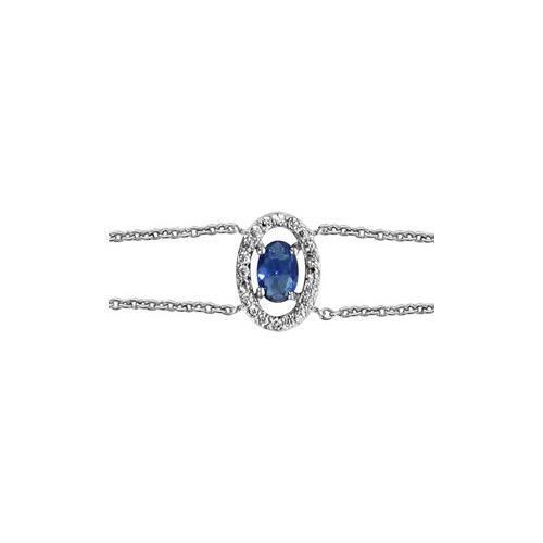 Bracelet argent rhodié forme ovale verre bleu fonc