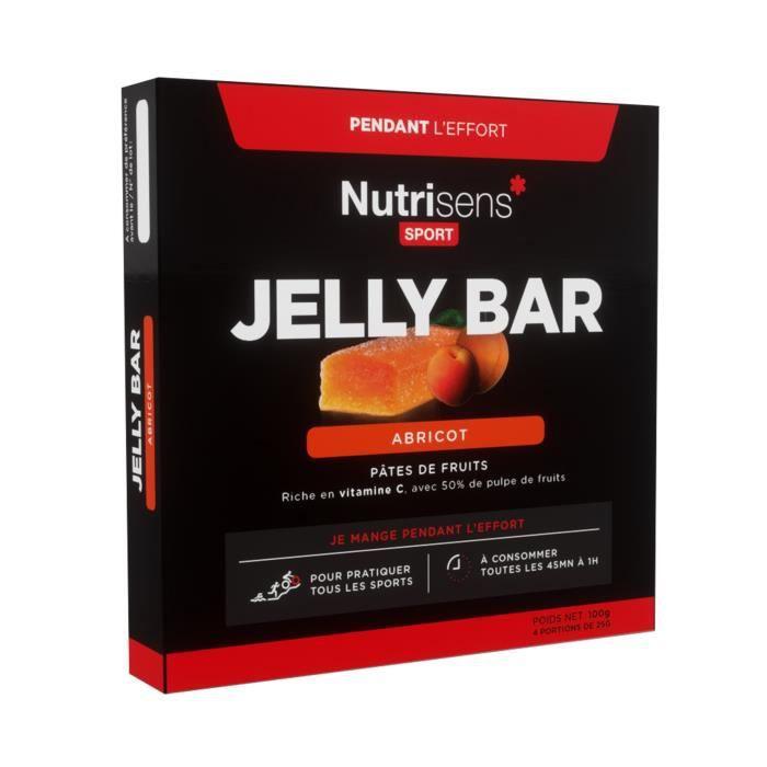 NUTRISENS Complément alimentaire - Etui de 4 barres énergétiques de pâte de fruit de 25g JellyBar - Abricot