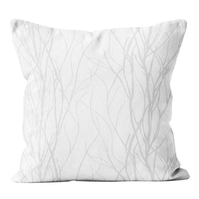 SOLEIL D' OCRE Coussin Liane - Déhoussable - 40 x 40 cm - Blanc