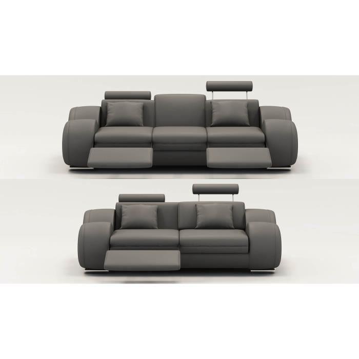 Ensemble canapé relax 3 2 places en cuir gris MODERN Achat