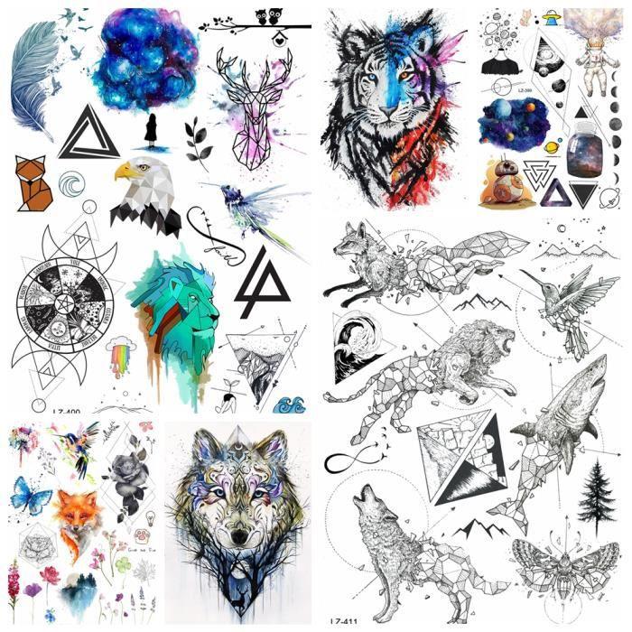 6 Feuilles Geometrie Diamant Lion Loup Tatouage Corps Impermeable