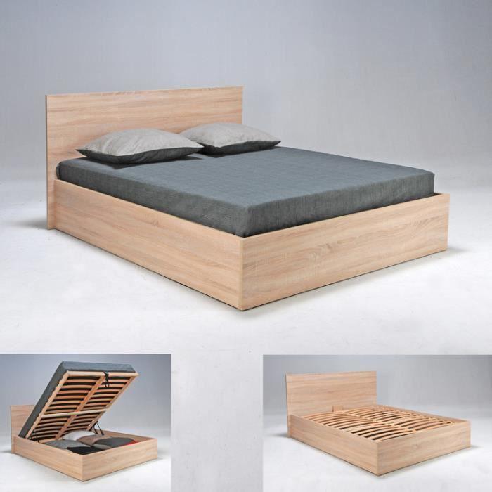 lit coffre en h tre avec t te de lit et sommier latte multiplis cadix ch ne clair. Black Bedroom Furniture Sets. Home Design Ideas
