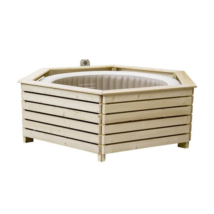Pack spa gonflable Intex PureSpa rond Bulles 4 places + Habillage en ...